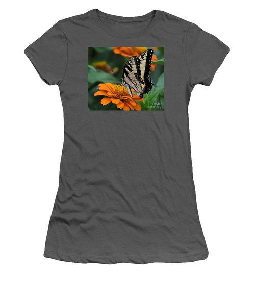 Butterfly On Zinnia Women's T-Shirt (Athletic Fit)