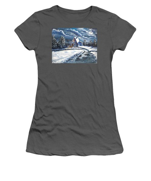 Cabin At Night Women's T-Shirt (Athletic Fit)