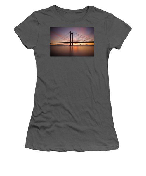 Women's T-Shirt (Junior Cut) featuring the photograph Cable Bridge by Ronda Kimbrow