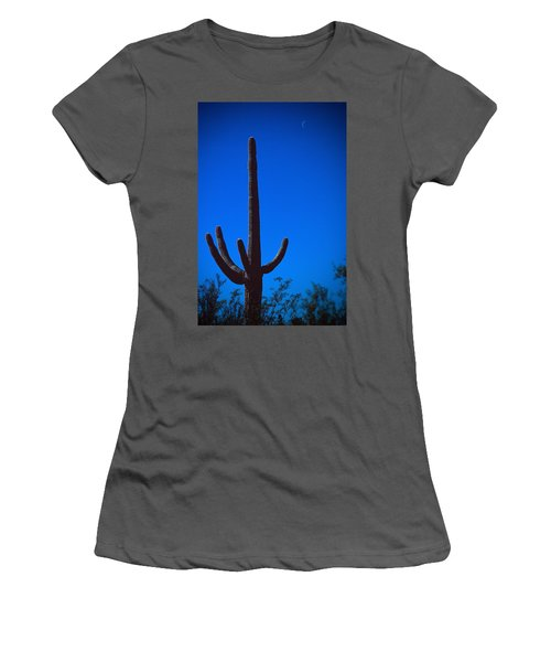 Cactus And Moon Women's T-Shirt (Athletic Fit)