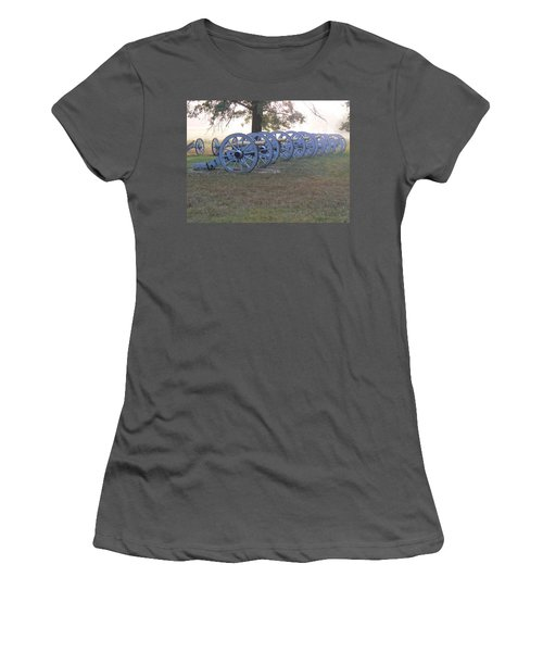 Women's T-Shirt (Junior Cut) featuring the photograph Cannon's In Fog by Michael Porchik