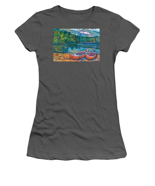 Canoes At Mountain Lake Sketch Women's T-Shirt (Athletic Fit)