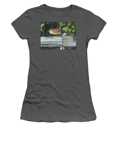 Women's T-Shirt (Junior Cut) featuring the painting Carolina Wren by Mike Brown