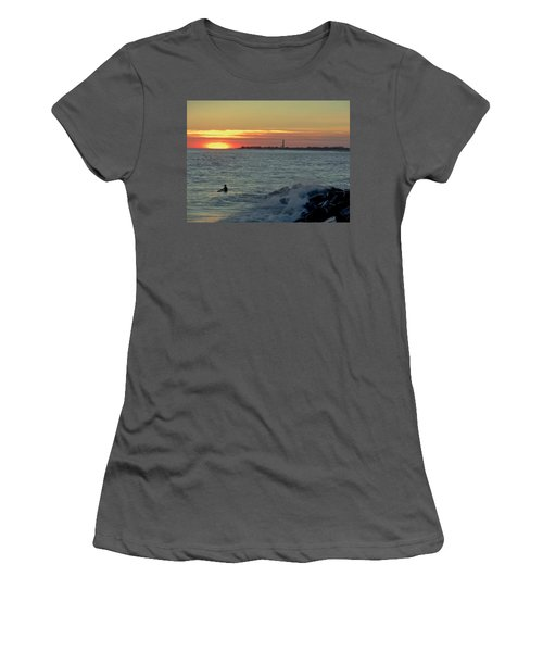 Women's T-Shirt (Junior Cut) featuring the photograph Catching A Wave At Sunset by Ed Sweeney