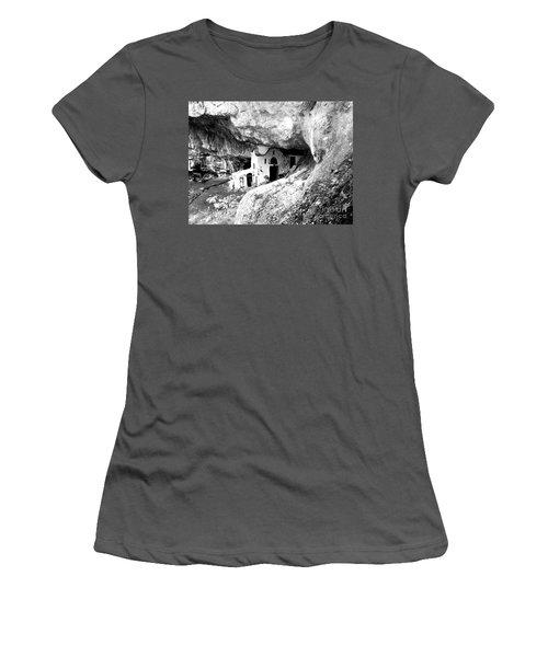Women's T-Shirt (Junior Cut) featuring the photograph cave church on Mt Olympus Greece by Nina Ficur Feenan