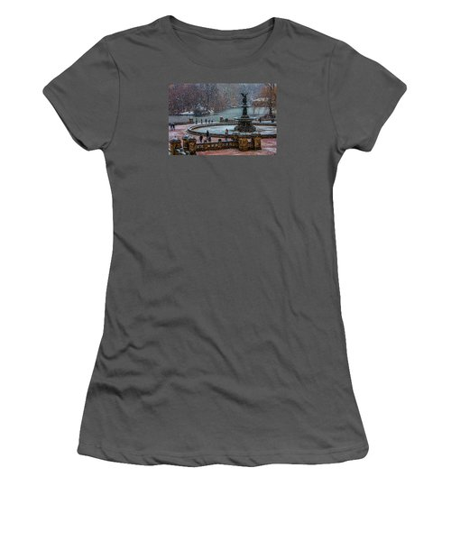 Central Park Snow Storm Women's T-Shirt (Junior Cut) by Chris Lord