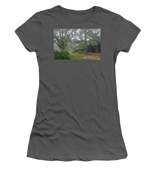 Century-old Shed In The Fog - South Carolina Women's T-Shirt (Junior Cut) by David Perry Lawrence