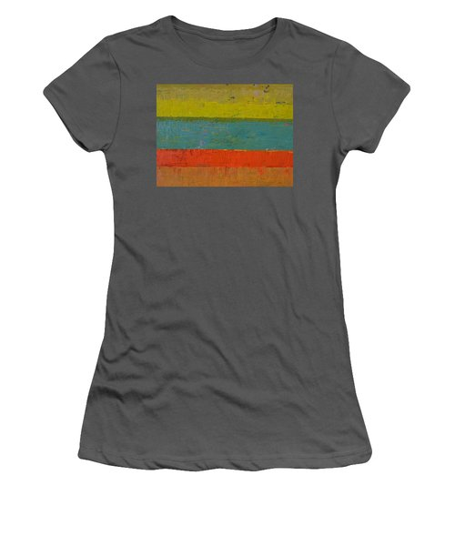 Chartreuse And Blue With Orange Women's T-Shirt (Athletic Fit)