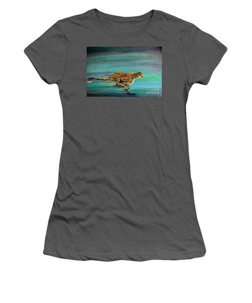 Cheetah Run Women's T-Shirt (Athletic Fit)