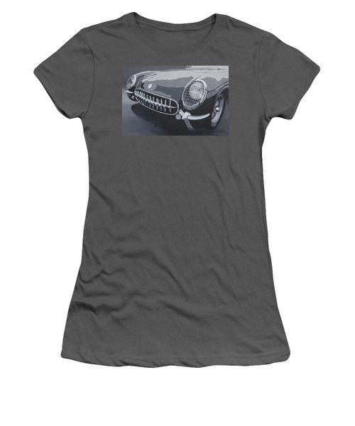Women's T-Shirt (Junior Cut) featuring the painting Chevrolet Corvette 1954 by Anna Ruzsan