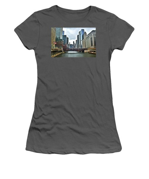 Chicago River And City Women's T-Shirt (Athletic Fit)