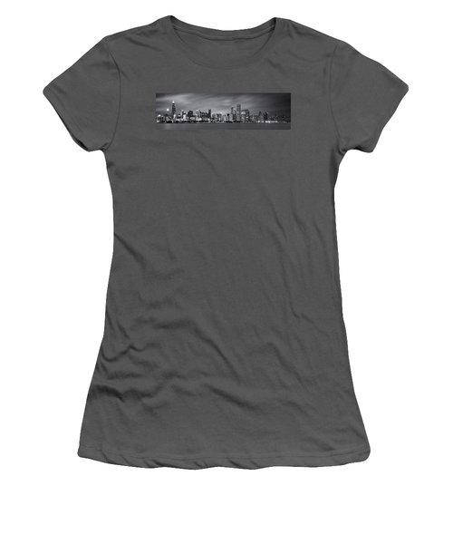Chicago Skyline At Night Black And White Panoramic Women's T-Shirt (Athletic Fit)