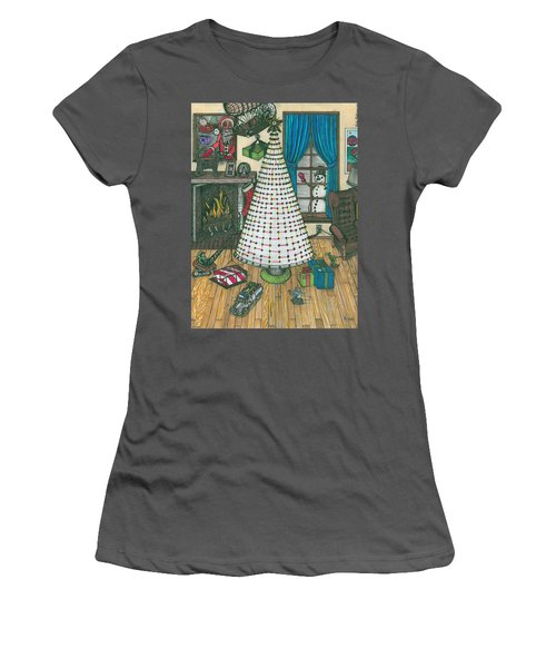 Christmas Card Drawing Women's T-Shirt (Athletic Fit)
