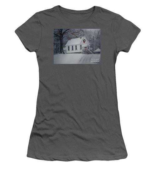 Christmas Card - Snow - Gates Chapel Women's T-Shirt (Athletic Fit)