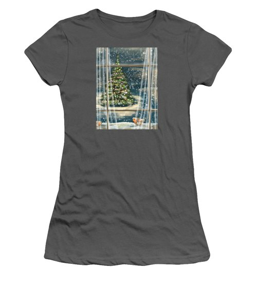 Christmas Night Women's T-Shirt (Junior Cut) by Veronica Minozzi
