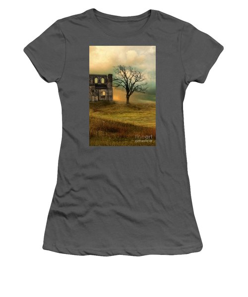 Church Ruin With Stormy Skies Women's T-Shirt (Athletic Fit)