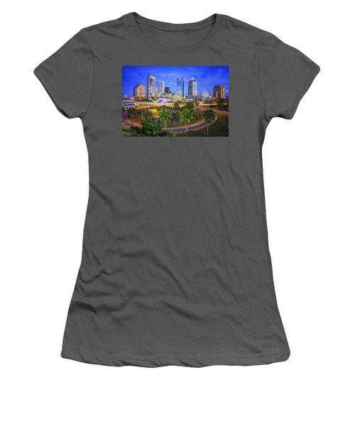 City Of Tampa At Dawn In Hdr Women's T-Shirt (Athletic Fit)