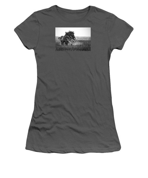 Women's T-Shirt (Junior Cut) featuring the photograph Clash Of Two Wild Stallions by Bob Decker