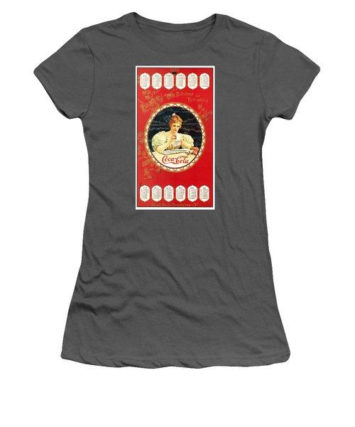 Coca - Cola Vintage Poster Calendar Women's T-Shirt (Athletic Fit)