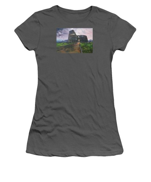 Women's T-Shirt (Junior Cut) featuring the painting Coliseum Rome by Jean Walker