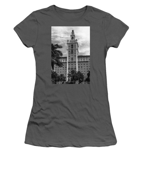 Coral Gables Biltmore Hotel In Black And White Women's T-Shirt (Athletic Fit)