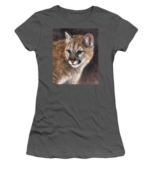 Cougar Cub Painting Women's T-Shirt (Junior Cut) by Rachel Stribbling