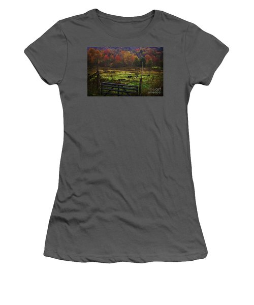 Women's T-Shirt (Junior Cut) featuring the photograph Cow Pasture In Autumn by Debra Fedchin