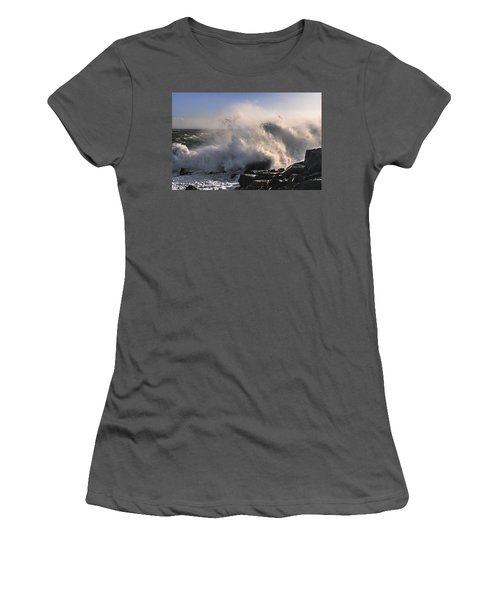 Women's T-Shirt (Junior Cut) featuring the photograph Crashing Surf by Marty Saccone
