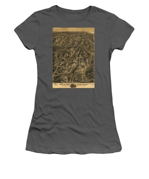 Antique Map - Cripple Creek Mining District Birdseye Map - 1895 Women's T-Shirt (Athletic Fit)