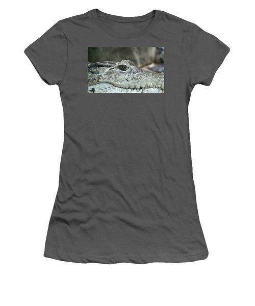 Women's T-Shirt (Junior Cut) featuring the photograph Crocodile Animal Eye Alligator Reptile Hunter by Paul Fearn