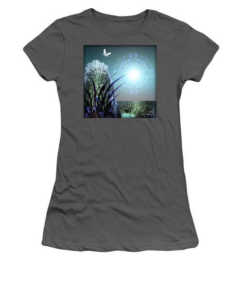 Women's T-Shirt (Junior Cut) featuring the digital art Crystal Breathing Rock by Rosa Cobos