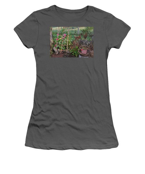 Dahlias And Chickens Women's T-Shirt (Junior Cut) by Denise Romano