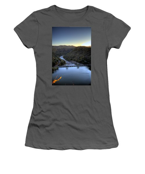 Women's T-Shirt (Junior Cut) featuring the photograph Dam Across The River by Jonny D