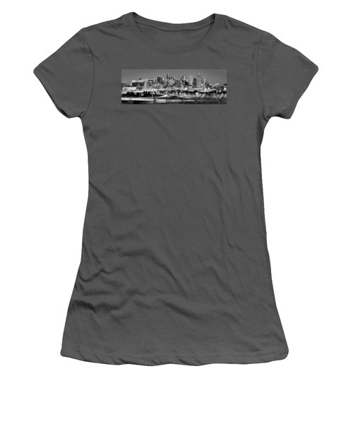 Women's T-Shirt (Junior Cut) featuring the photograph Denver Skyline At Dusk Evening Bw Black And White Evening Panorama Broncos Colorado  by Jon Holiday