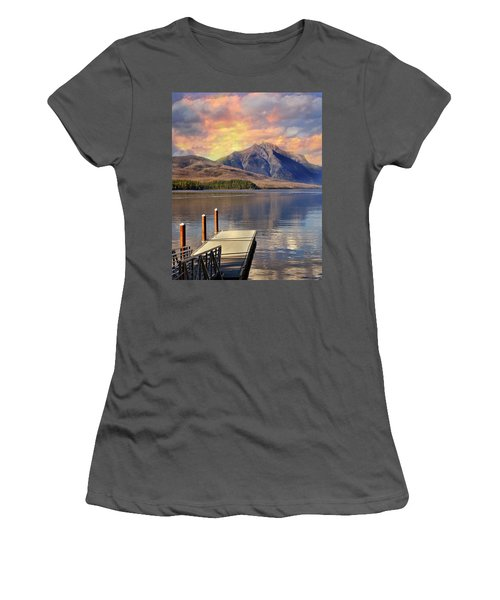Women's T-Shirt (Junior Cut) featuring the photograph Dock On Lake Mcdonald by Marty Koch