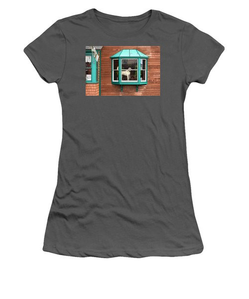 Dog In Window Women's T-Shirt (Athletic Fit)