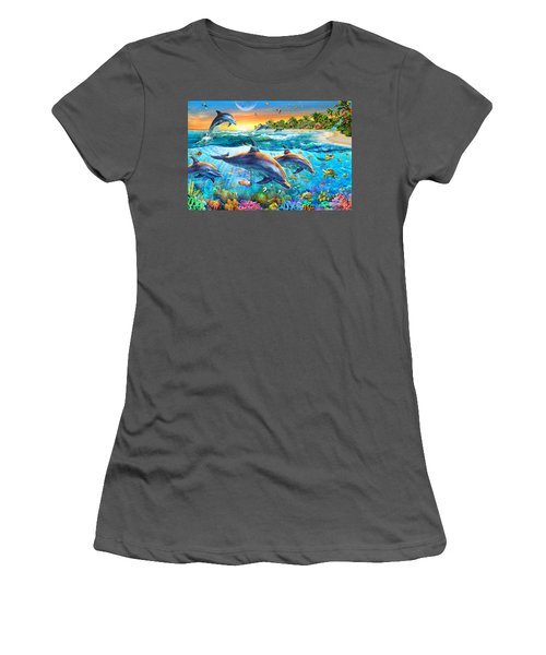 Dolphin Bay Women's T-Shirt (Athletic Fit)