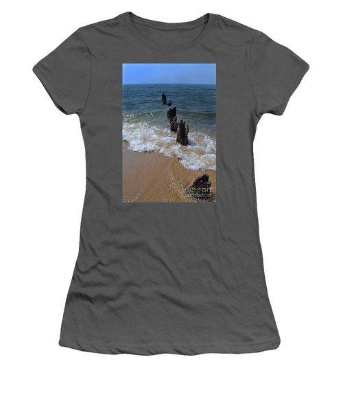 Driftwood And Sea Foam Beach Women's T-Shirt (Athletic Fit)
