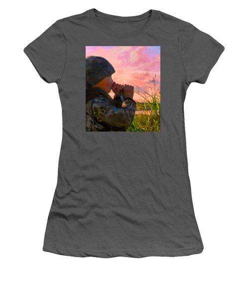Duck Call Women's T-Shirt (Junior Cut) by Michael Pickett