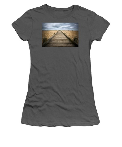 Dungeness Beach Walkway Women's T-Shirt (Athletic Fit)
