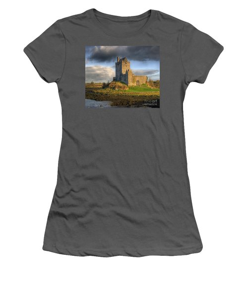 Dunguaire Castle With Dramatic Sky Kinvara Galway Ireland Women's T-Shirt (Athletic Fit)