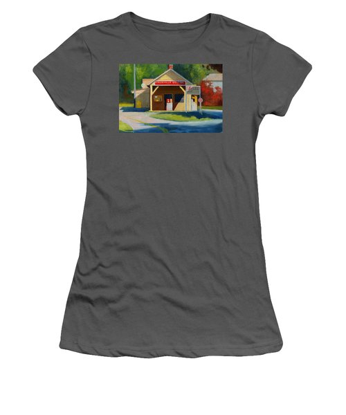 Earlysville Virginia Old Service Station Nostalgia Women's T-Shirt (Junior Cut) by Catherine Twomey