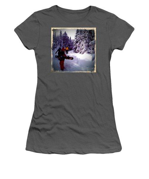 Earning Turns Women's T-Shirt (Junior Cut) by James Aiken