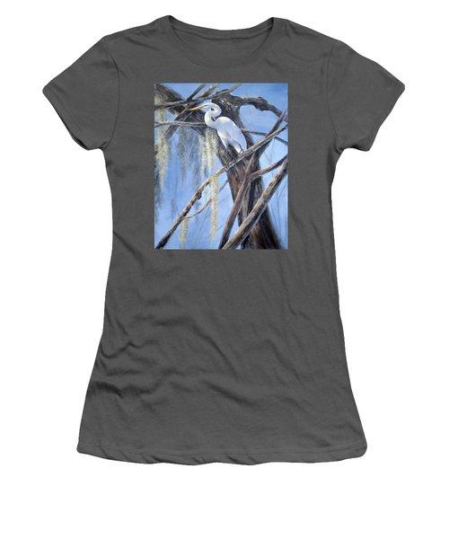 Egret Perch Women's T-Shirt (Athletic Fit)