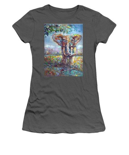Women's T-Shirt (Junior Cut) featuring the painting Elephant Thirst by Bernadette Krupa
