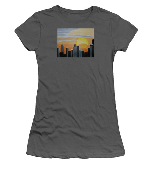 Women's T-Shirt (Junior Cut) featuring the painting Elipse At Sunrise by Donna Blossom