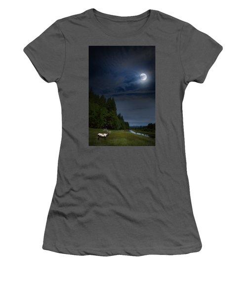 Elk Under A Full Moon Women's T-Shirt (Athletic Fit)