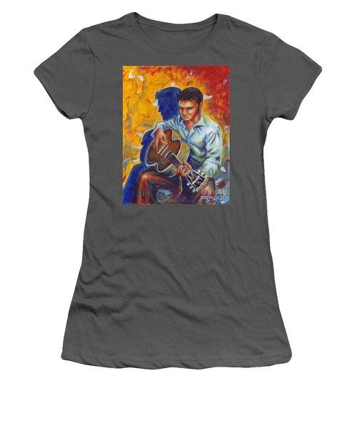 Elvis Presley- Shadow Duet Women's T-Shirt (Athletic Fit)