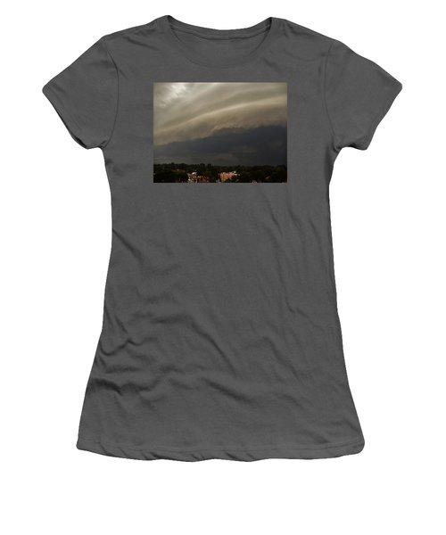 Women's T-Shirt (Junior Cut) featuring the photograph Encroaching Shelf Cloud by Ed Sweeney