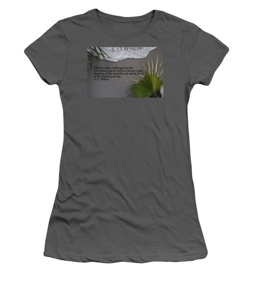 E.o. Wilson Quote Women's T-Shirt (Junior Cut) by Kathy Barney